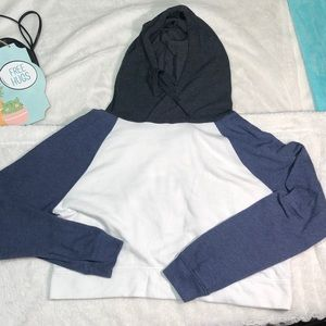 💜 SO Lounge Life color block cropped hoodie Sz L